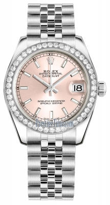Rolex Datejust 31mm Stainless Steel 178384 Pink Index Jubilee