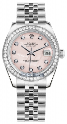 Rolex Datejust 31mm Stainless Steel 178384 Pink MOP Diamond Jubilee