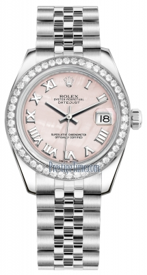 Rolex Datejust 31mm Stainless Steel 178384 Pink MOP Roman Jubilee