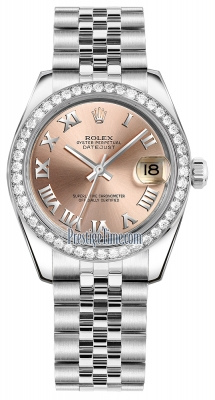 Rolex Datejust 31mm Stainless Steel 178384 Pink Roman Jubilee