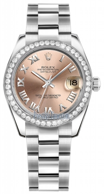 Rolex Datejust 31mm Stainless Steel 178384 Pink Roman Oyster