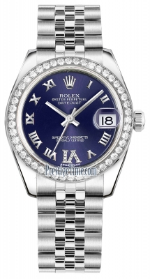 Rolex Datejust 31mm Stainless Steel 178384 Purple VI Roman Jubilee