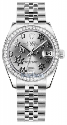 Rolex Datejust 31mm Stainless Steel 178384 Rhodium Floral Jubilee