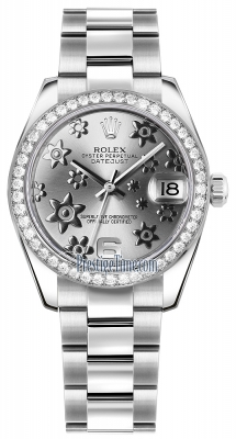 Rolex Datejust 31mm Stainless Steel 178384 Rhodium Floral Oyster