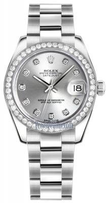 Rolex Datejust 31mm Stainless Steel 178384 Silver Diamond Oyster
