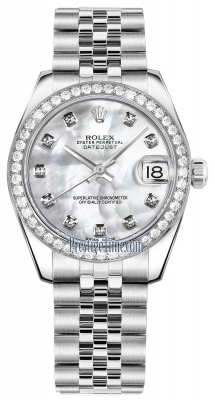 Rolex Datejust 31mm Stainless Steel 178384 White MOP Diamond Jubilee