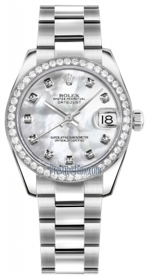 Rolex Datejust 31mm Stainless Steel 178384 White MOP Diamond Oyster