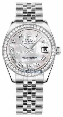 Rolex Datejust 31mm Stainless Steel 178384 White MOP Roman Jubilee
