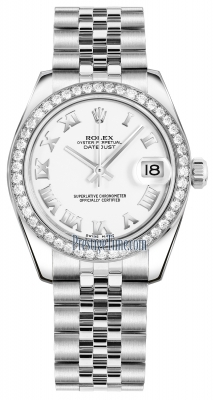 Rolex Datejust 31mm Stainless Steel 178384 White Roman Jubilee