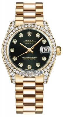 Rolex Datejust 31mm Yellow Gold 178158 Black Diamond President