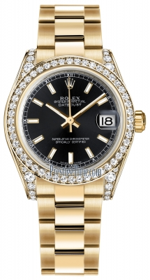 Rolex Datejust 31mm Yellow Gold 178158 Black Index Oyster