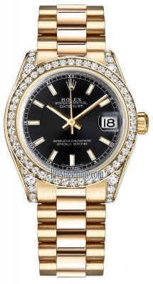 Rolex Datejust 31mm Yellow Gold 178158 Black Index President