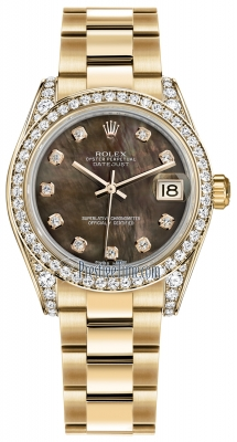 Rolex Datejust 31mm Yellow Gold 178158 Black MOP Diamond Oyster
