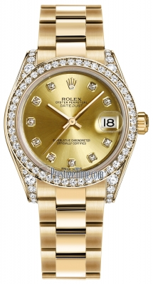 Rolex Datejust 31mm Yellow Gold 178158 Champagne Diamond Oyster