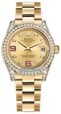 Rolex Datejust 31mm Yellow Gold 178158 Champagne 8 Diamond 32 Ruby Oyster