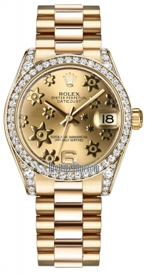 Rolex Datejust 31mm Yellow Gold 178158 Champagne Floral President