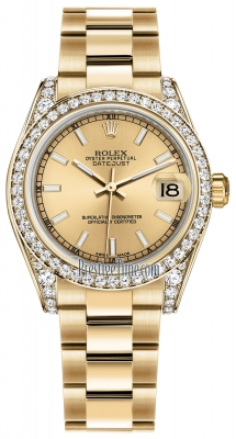 Rolex Datejust 31mm Yellow Gold 178158 Champagne Index Oyster