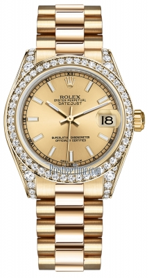 Rolex Datejust 31mm Yellow Gold 178158 Champagne Index President