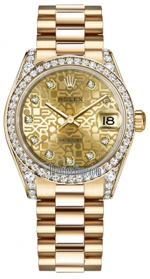 Rolex Datejust 31mm Yellow Gold 178158 Champagne Jubilee Diamond President