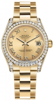 Rolex Datejust 31mm Yellow Gold 178158 Champagne Roman Oyster