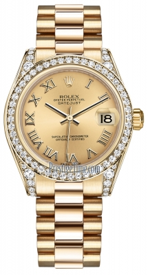 Rolex Datejust 31mm Yellow Gold 178158 Champagne Roman President