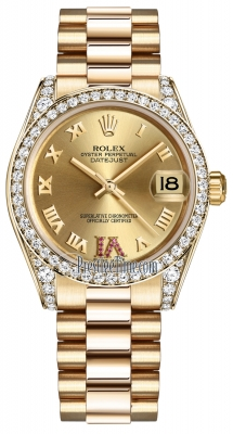 Rolex Datejust 31mm Yellow Gold 178158 Champagne Roman VI Rubies President