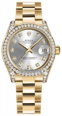 Rolex Datejust 31mm Yellow Gold 178158 Silver Diamond Oyster
