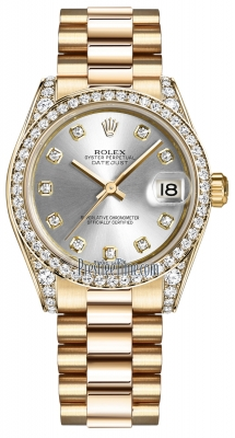 Rolex Datejust 31mm Yellow Gold 178158 Silver Diamond President