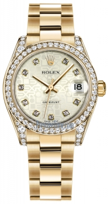 Rolex Datejust 31mm Yellow Gold 178158 Silver Jubilee Diamond Oyster