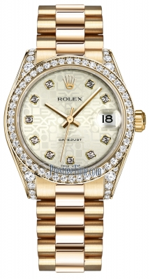 Rolex Datejust 31mm Yellow Gold 178158 Silver Jubilee Diamond President