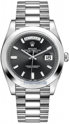 Rolex Day-Date 40mm Platinum 228206 Black Baguette