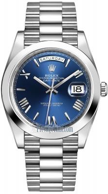 Rolex Day-Date 40mm Platinum 228206 Blue Roman