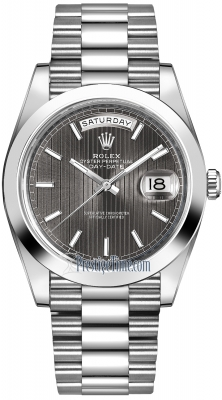 Rolex Day-Date 40mm Platinum 228206 Dark Rhodium Index