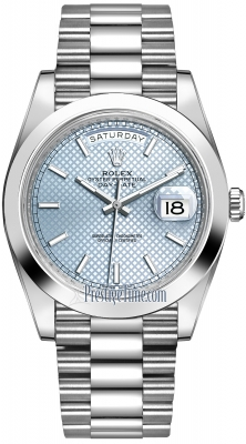 Rolex Day-Date 40mm Platinum 228206 Ice Blue Diagonal Index