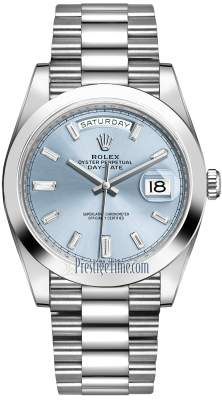 Rolex Day-Date 40mm Platinum 228206 Ice Blue Baguette Index