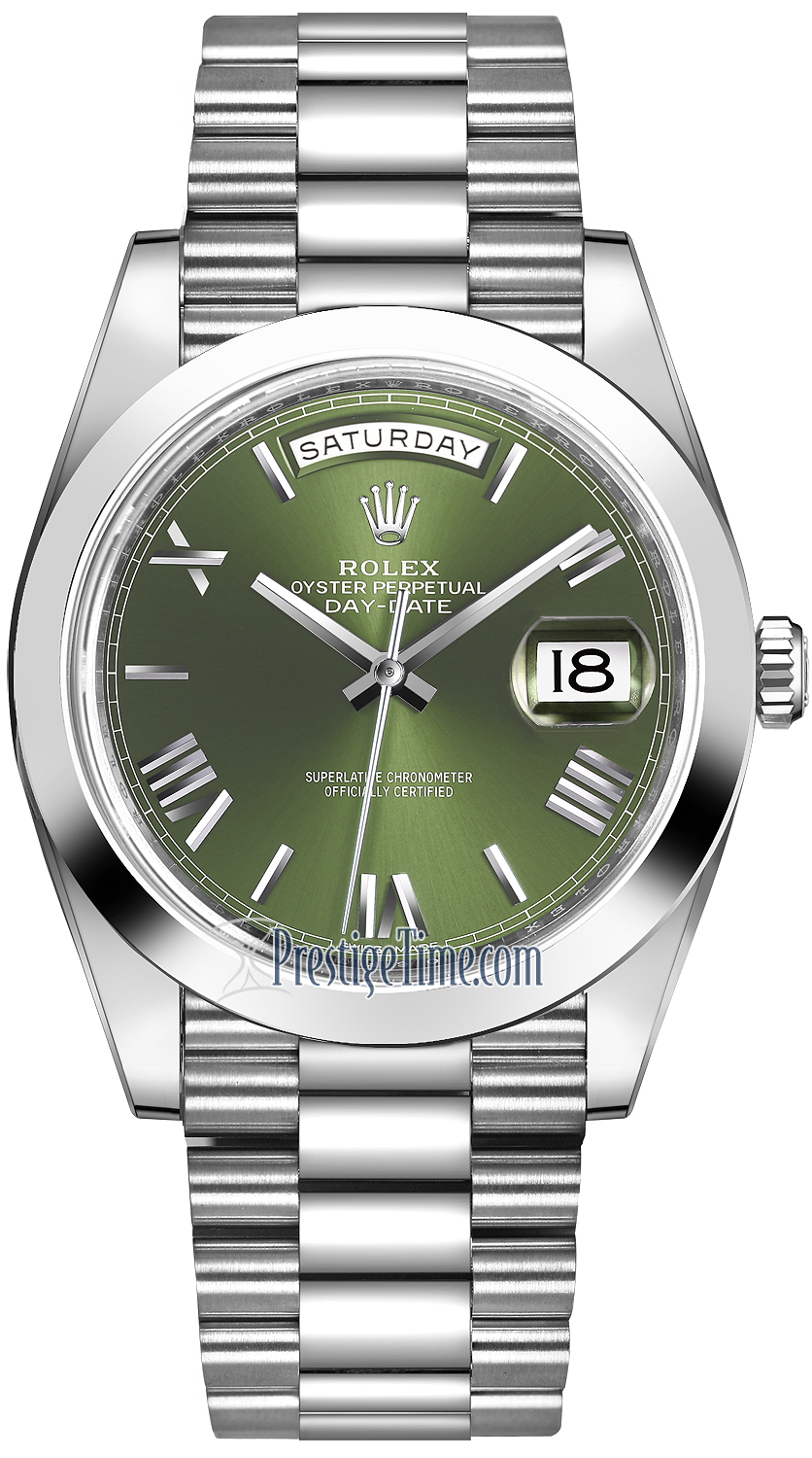 Rolex Day,Date 40mm Platinum 228206 Green Roman
