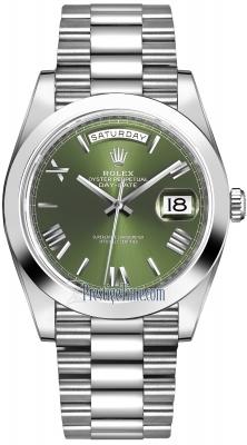 Rolex Day-Date 40mm Platinum 228206 Olive Green Roman