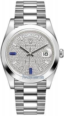 Rolex Day-Date 40mm Platinum 228206 Pave Baguette Sapphire