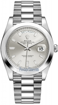 Rolex Day-Date 40mm Platinum 228206 Silver Baguette