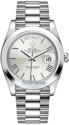 Rolex Day-Date 40mm Platinum 228206 Silver Quadrant Roman