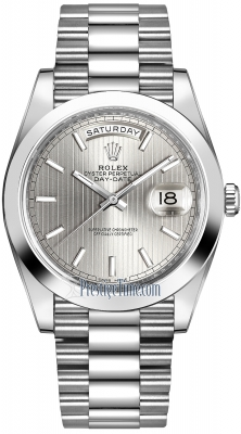 Rolex Day-Date 40mm Platinum 228206 Silver Index