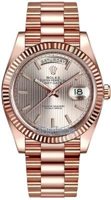 Rolex Day-Date 40mm Everose Gold 228235 Sundust Stripe Index