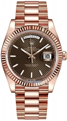Rolex Day-Date 40mm Everose Gold 228235 Chocolate Diagonal Index