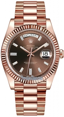 Rolex Day-Date 40mm Everose Gold 228235 Chocolate Baguette Index