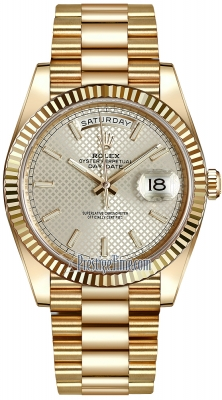 Rolex Day-Date 40mm Yellow Gold 228238 Silver Diagonal Index