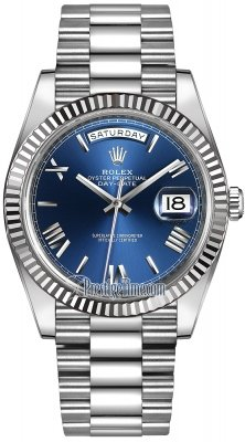 Rolex Day-Date 40mm White Gold 228239 Blue Roman