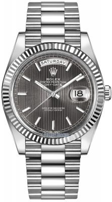 Rolex Day-Date 40mm White Gold 228239 Dark Rhodium Stripe Index