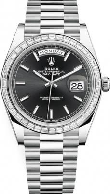 Rolex Day-Date 40mm Platinum 228396TBR Black Baguette