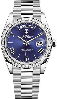 Rolex Day-Date 40mm Platinum 228396TBR Blue Roman