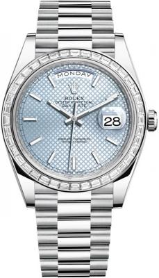 Rolex Day-Date 40mm Platinum 228396TBR Ice Blue Diagonal Index